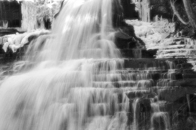 Icy Brandywine Falls in B&W